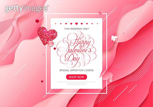 Valentine day love lettering web brochure
