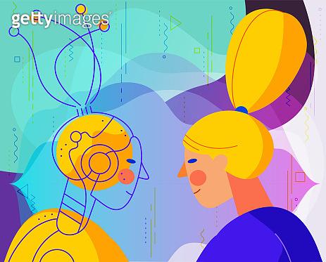 Robotic voice assistant concept illust