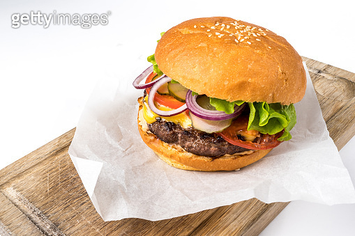Hamburger with beef and vegetables