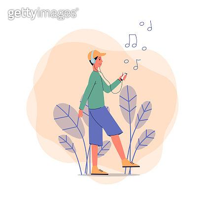 Listening music illustration
