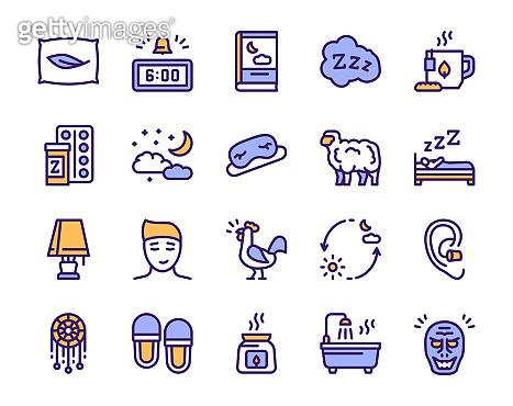 Color linear icons set