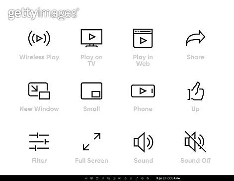 Editable line icons set