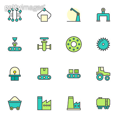 Filled outline icons set