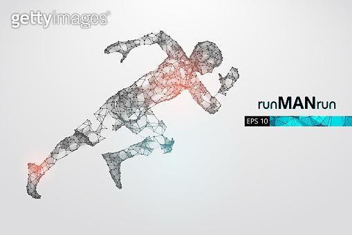 Wireframe running athlete