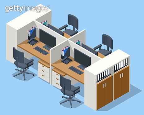 사무실 3D 일러스트