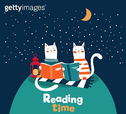 Cute animal read a book