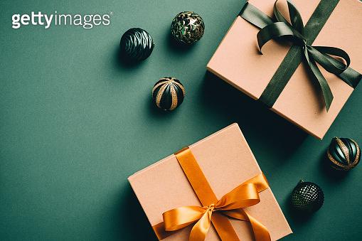 크리스마스 선물 그린 백그라운드