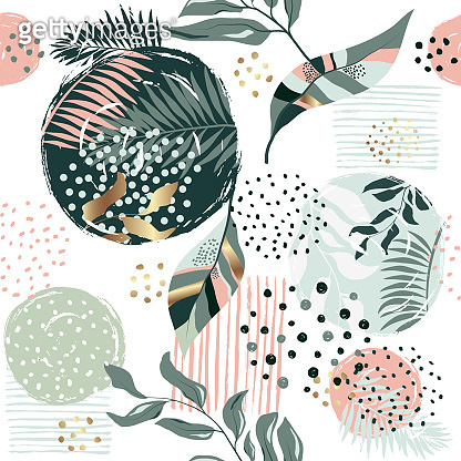 Exotic pattern with tropical plants
