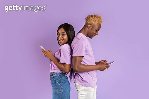 Couple on violet background