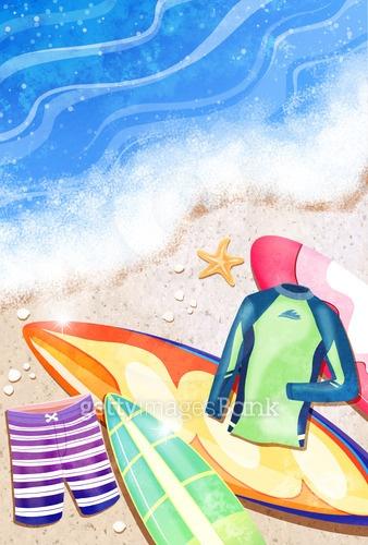 여름해변 일러스트
