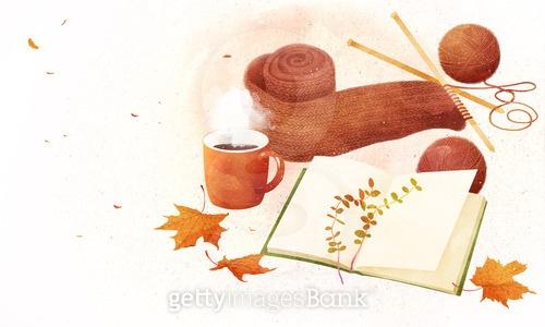 가을 수채화 오브젝트