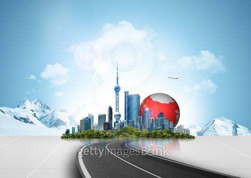 중국 풍경과 비즈니스