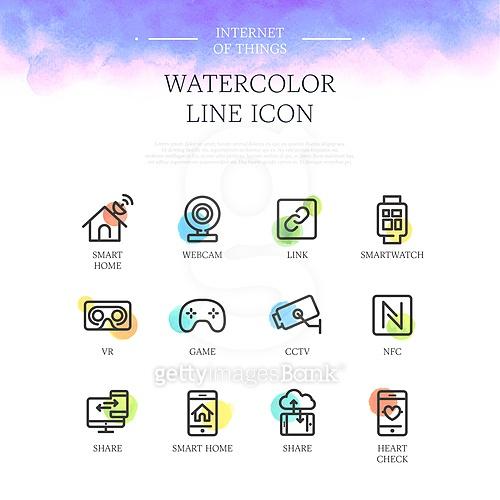 watercolor line icon