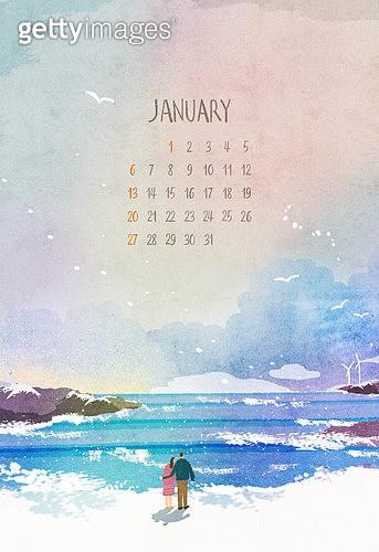 캘리그래피 (문자), 손글씨, 달력, 달력 (시간도구), 숫자, 1월, 바다, 2019년