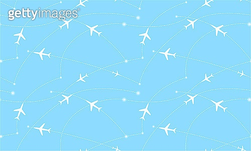Seamless pattern with airplanes. Abstract illustration