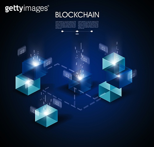 Block chain  with connected crystal block, miner of transaction. Vector illustration.