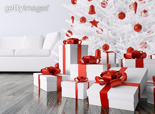 White Christmas tree, red baubles,gifts in a living room, interior 3d rendering