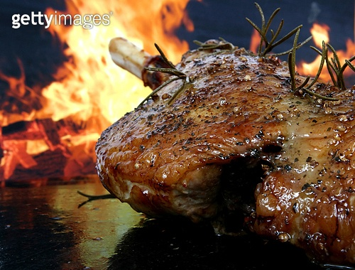 Traditional English wine marinade roast by romantic fire
