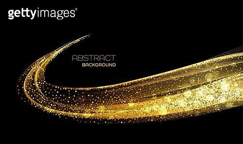 Abstract shiny color gold wave design element with glitter effect on dark background.. Abstract shiny color gold wave design element