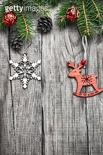 Christmas decorations on Christmas tree