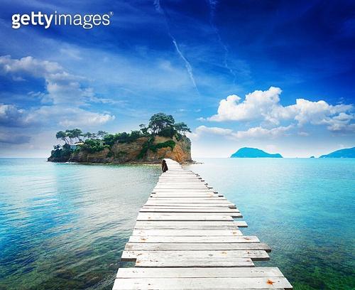 bridge to Agios Sostis island, Beautiful landscape of Zakinthos island, Greece, retro toned. Beautiful lanscape of Zakinthos island