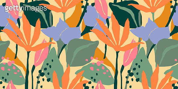 Pattern with abstract leaves