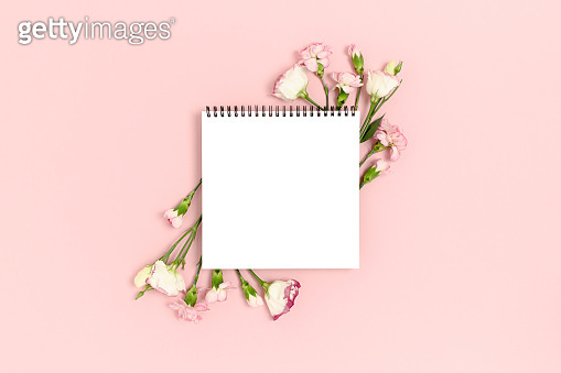 Mockup with frame made of flowers