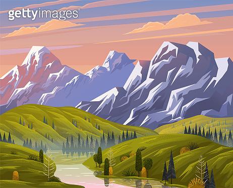 산 풍경 일러스트