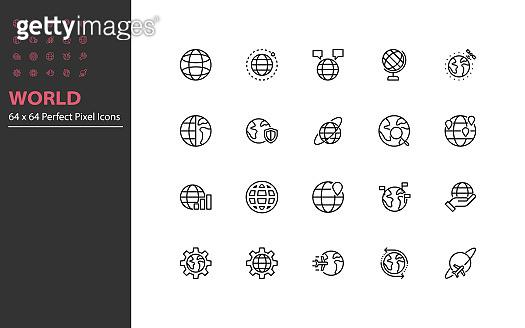 Set of world thin line icons
