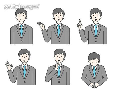 Various poses of businessmen