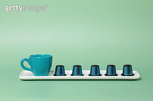 Disposable coffee capsules and cup