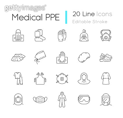 Medical PPE linear icons set