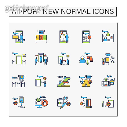 Airport new normal icons