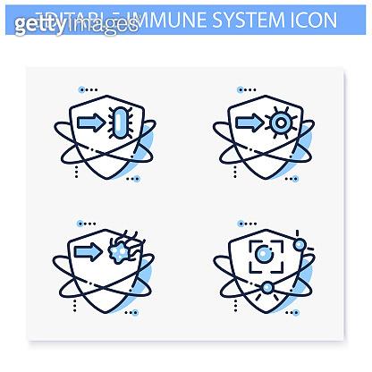 면역 시스템 라인 아이콘