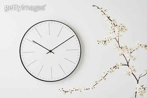 시계와 식물 모던 백그라운드