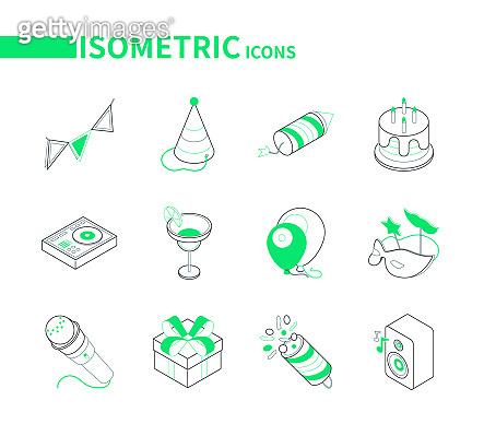 Colorful isometric line icons set