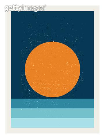 sunset sea ocean artwork