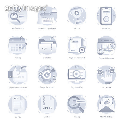Set of Flat Rounded Icons