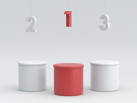 Empty winners podium with hanging number. 3D rendering.