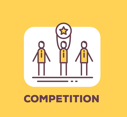 Vector business illustration of men holding a medal with the star sign of winning the competition on yellow background with title.