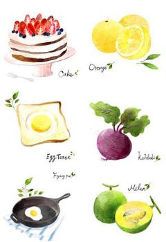 수채화 음식 아이콘