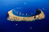 Aerial view of Molokini island, Hawaii