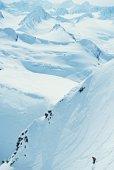 Snowboarding, Chugach Mountains, Alaska, USA, elevated view