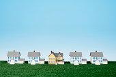 Row of miniature houses