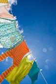 Laundry hanging on clothesline