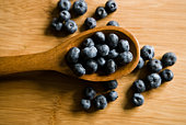 High angle view of blueberries and wooden spoon