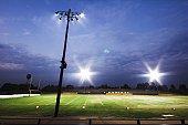 Football stadium at twilight