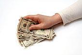 Hand Holding Fan of American Money