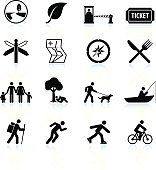Summer fun and outdoor black & white icon set
