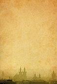 Prague skyline on old paper